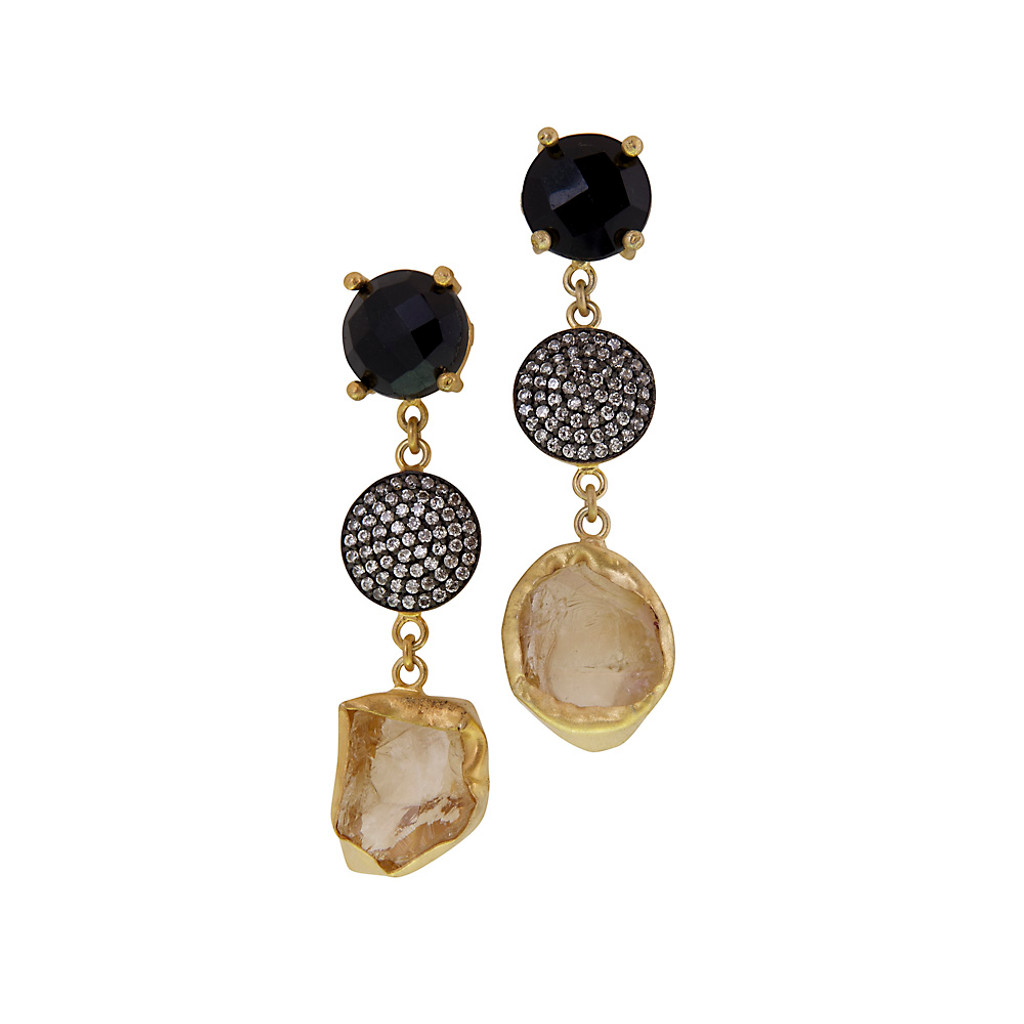 Triple Threat Black Onyx Cubic Zirconium Citrine Earrings