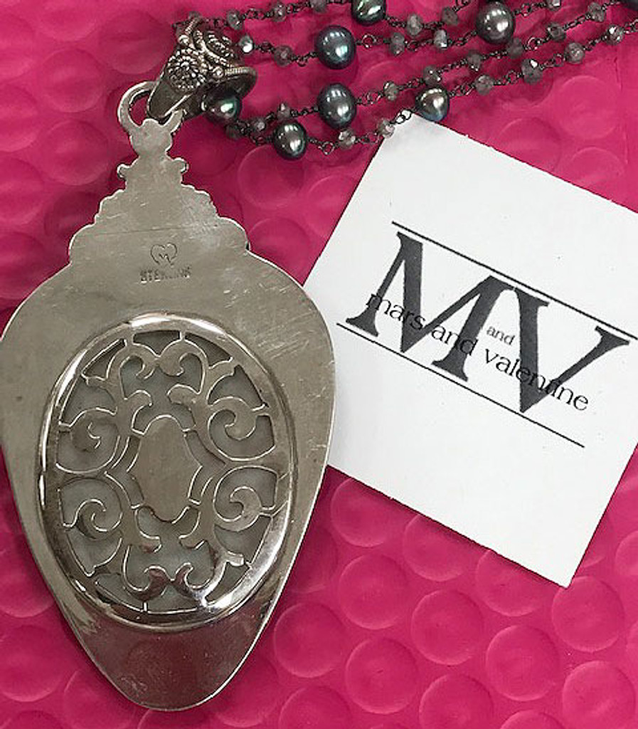 Mars and Valentine's Vintage Etched Mother-of-Pearl Pendant Necklace