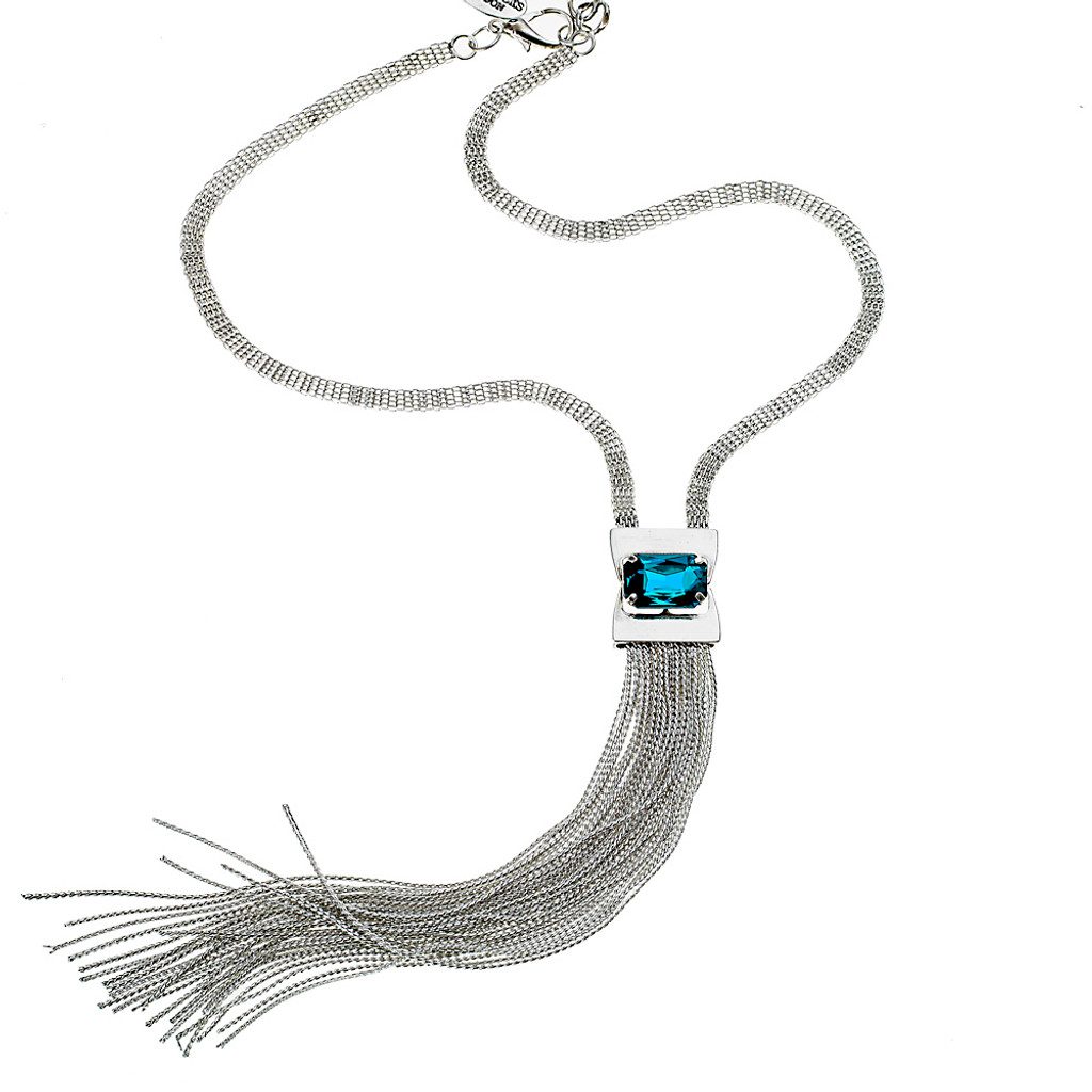Capri Blue Long Tassel Necklace