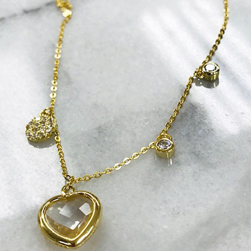 Bezel Heart and Charms Necklace