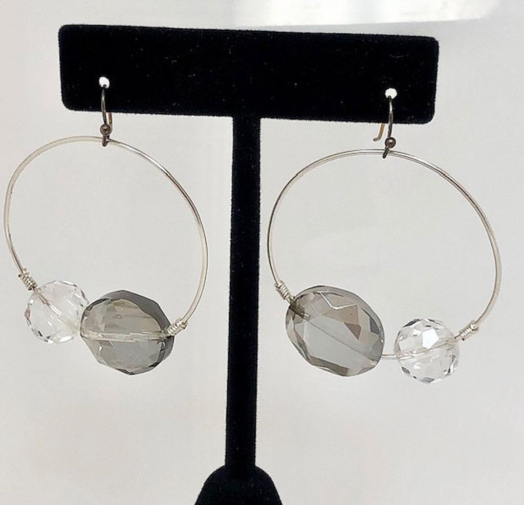 Two Color Crystals on a Round Silver Hoop