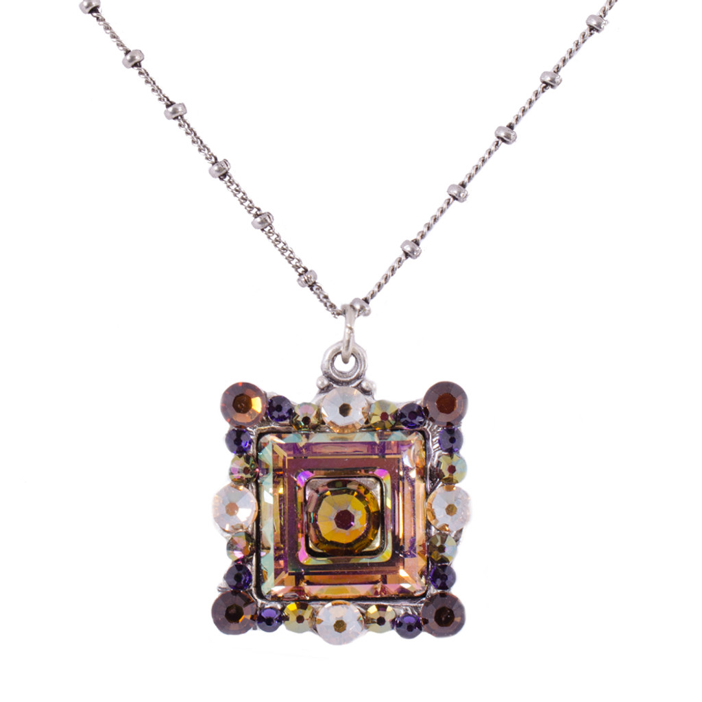 Framed Square AB- Lt. Amethyst Swarovski Necklace