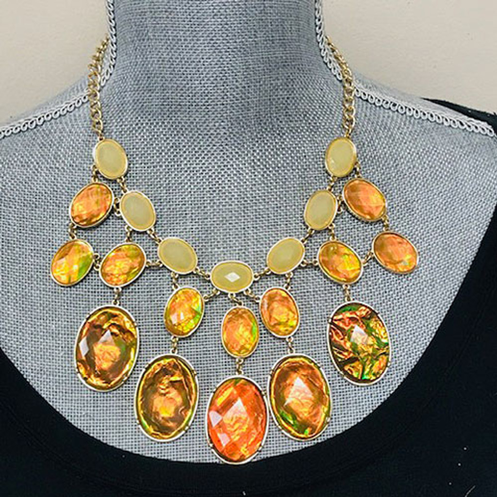 Brown Opalescent Statement Necklace