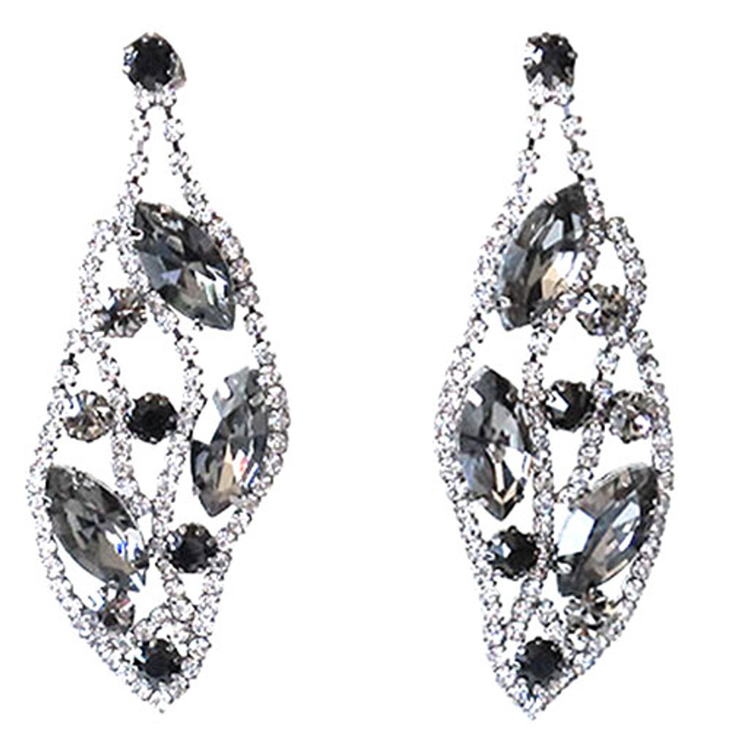 Black Diamond Crystal Leaf Earring