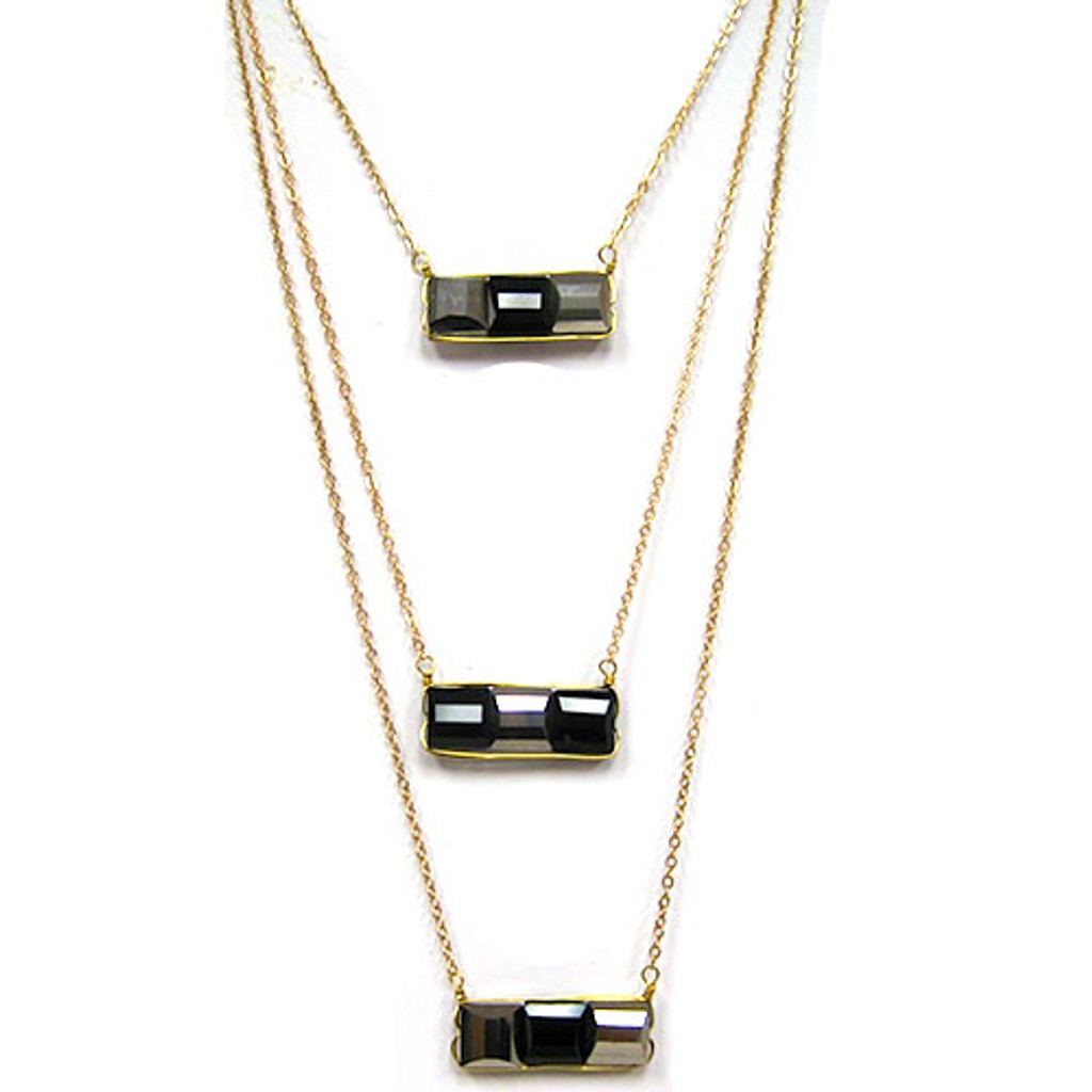Long Layered Domino Crystal Necklace