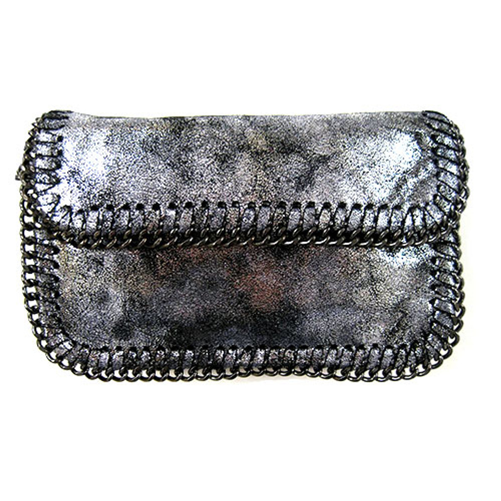 Sondra Roberts' Gunmetal Chain Edged Metallic Black and Silver