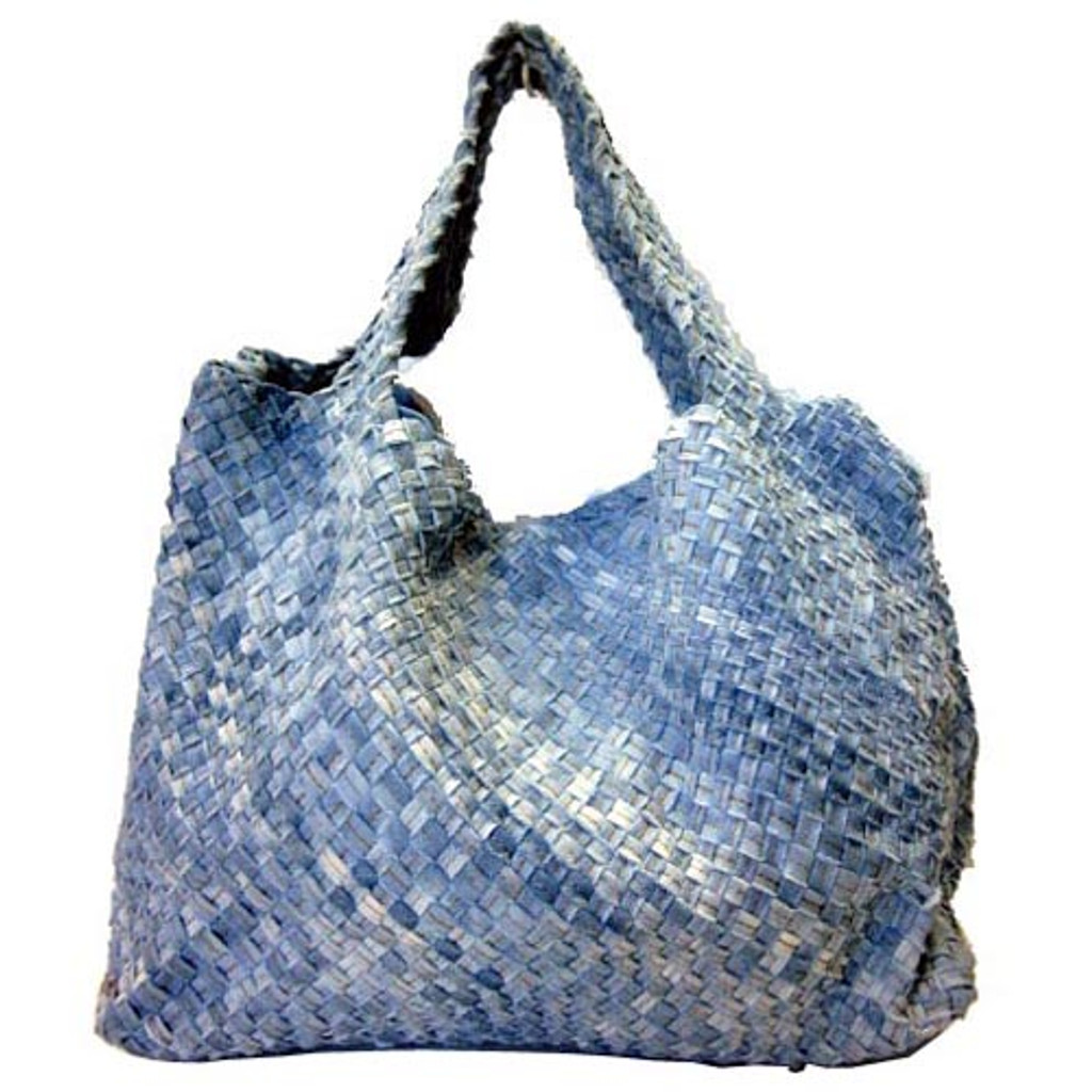 Shades of Blue Denim Woven Slouchy Tote