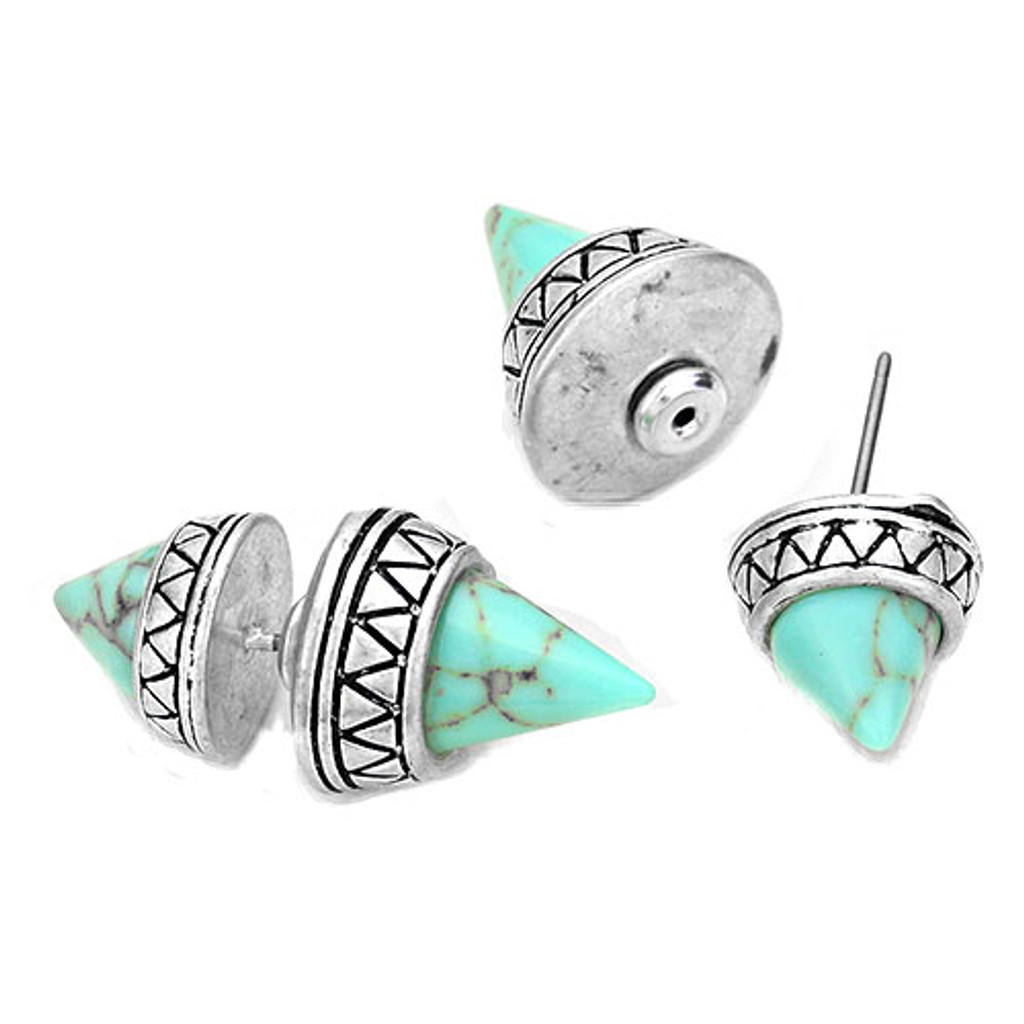 Turquoise Pyramid Front and Back Earrings