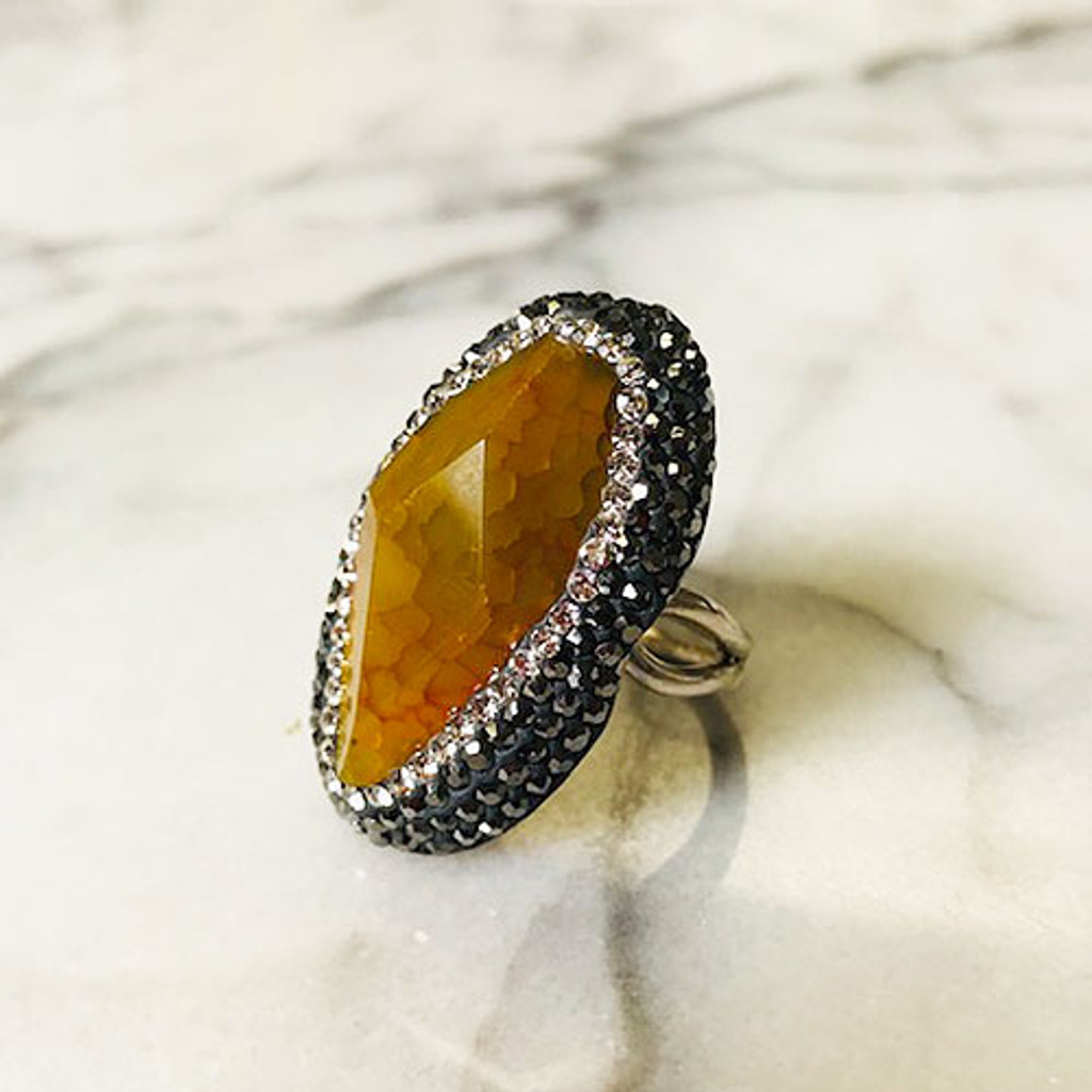 Polished Golden Mookaite Jasper Ring