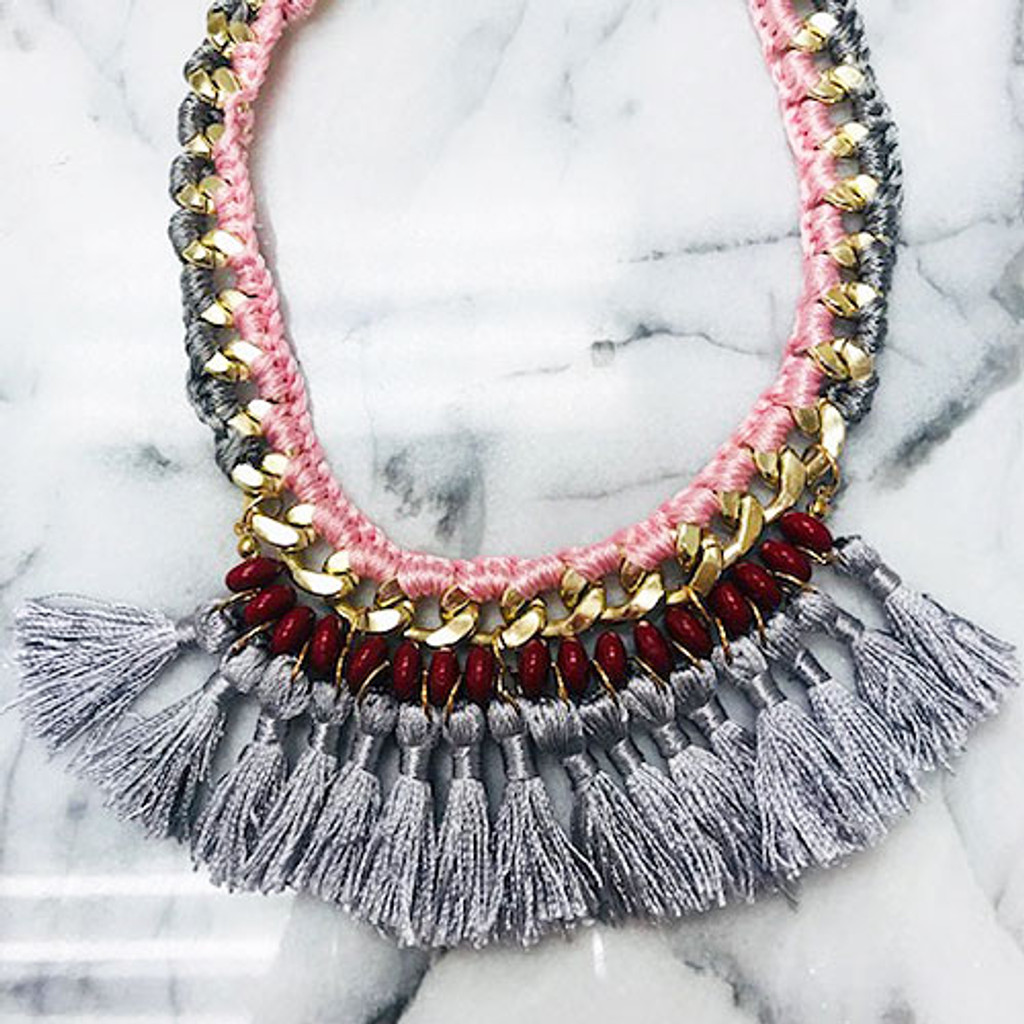 Gray Tassels on Bold Gold Chain