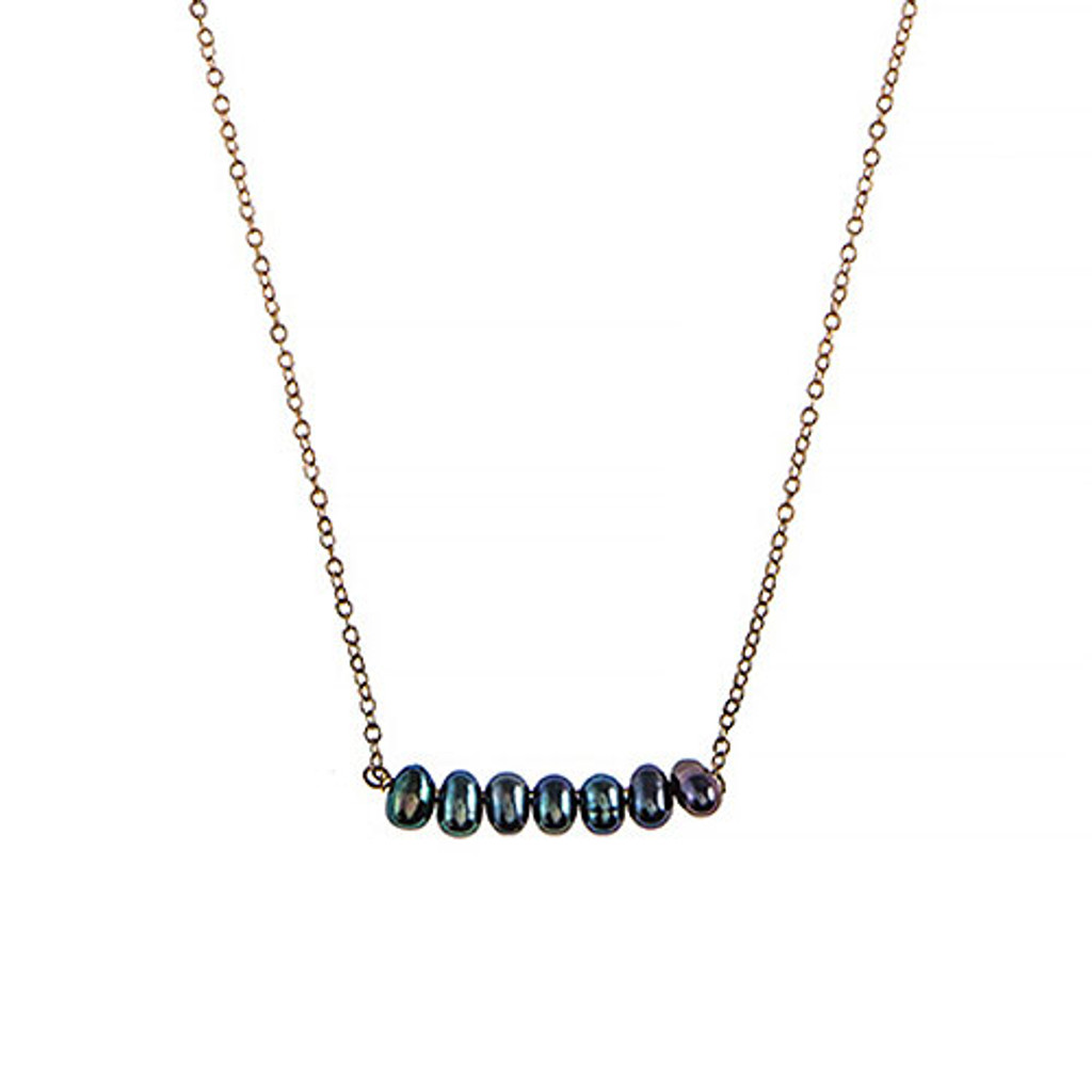 Grey Fresh Water Pearl Beaded Bar Necklace
