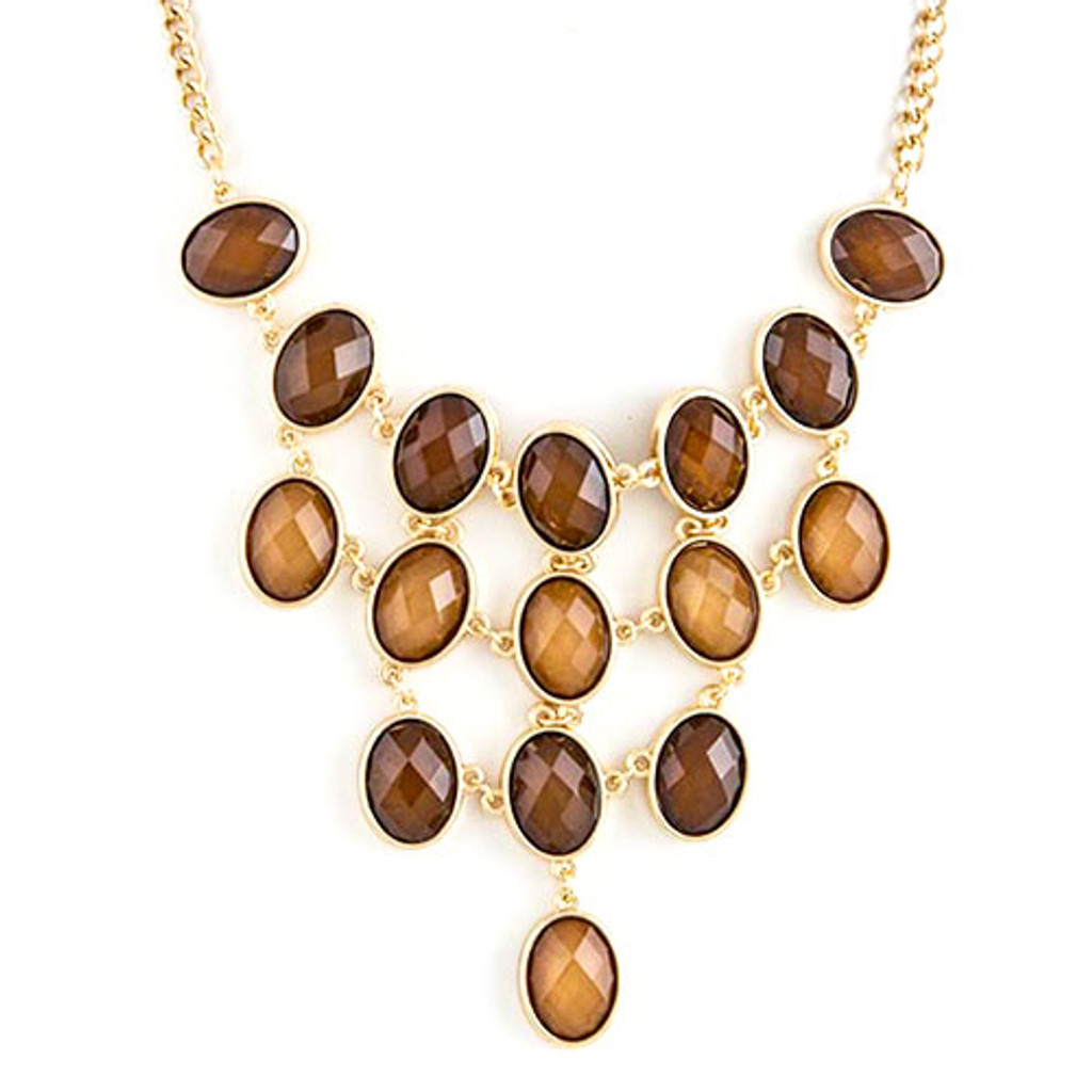 Brown Jeweled Bib Necklace
