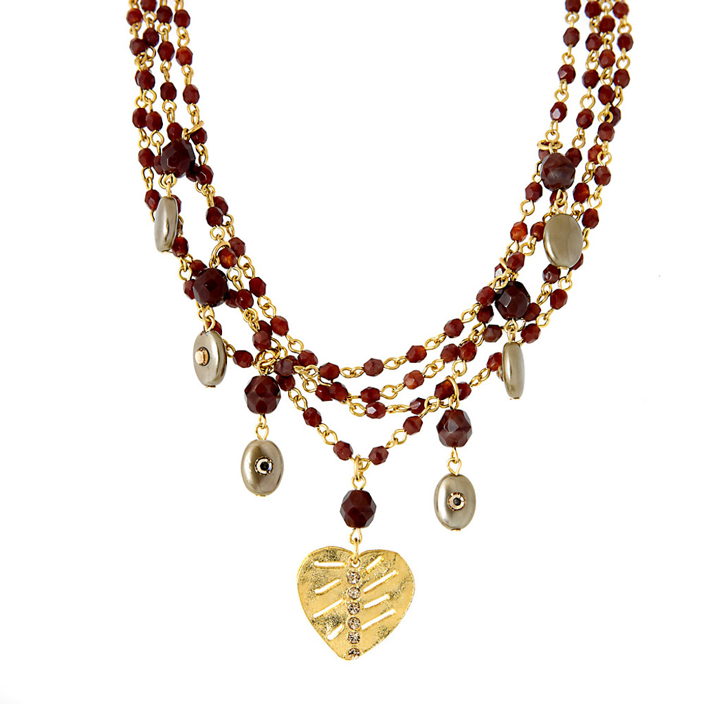 Multi-Chain Red Tiger Eye Necklace