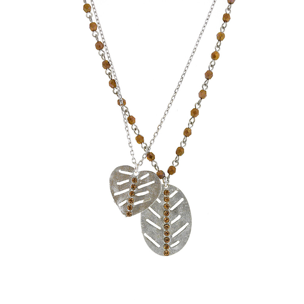 Double Chain Leaf Necklace