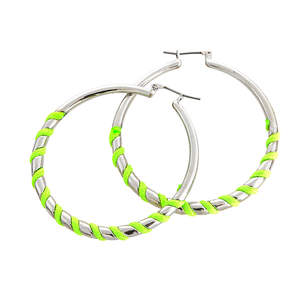 Bright Green Wrapped Silver Hoops