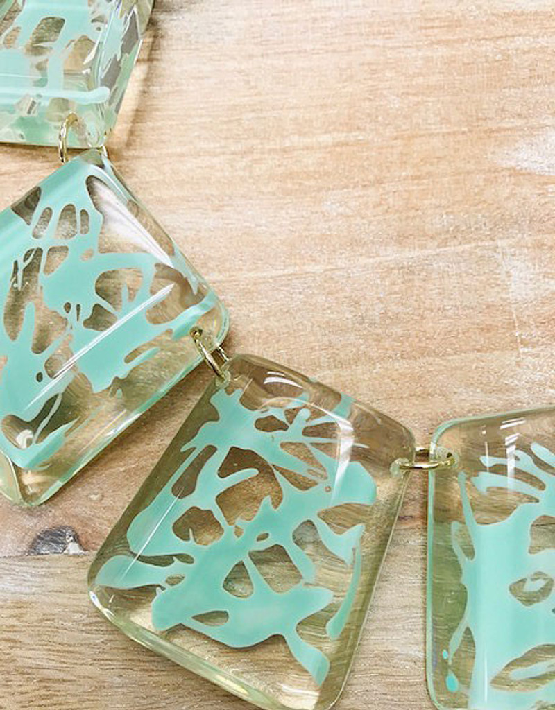 Clear Resin with Mint Splatter Design