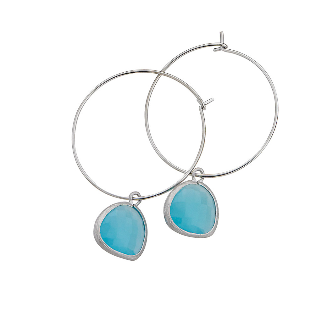 Turquoise Crystal Charm Hoop S