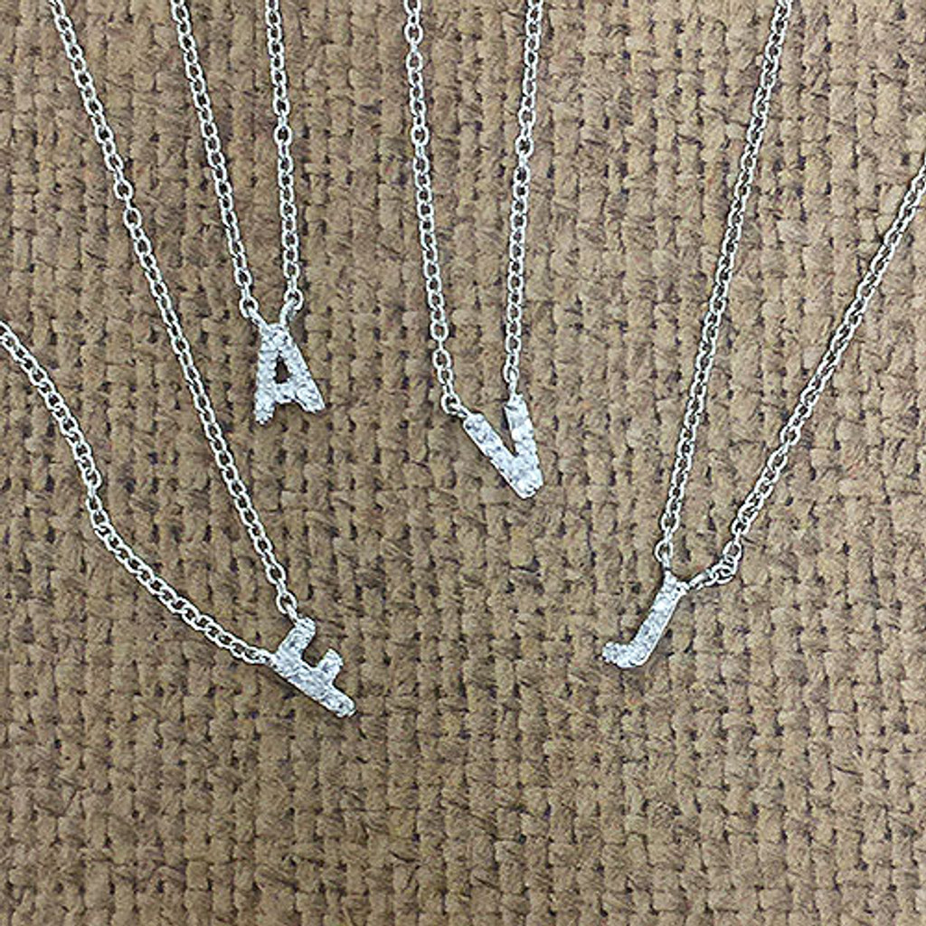 """Perfect Lil  1/4"""" CZ Initial Necklace"""