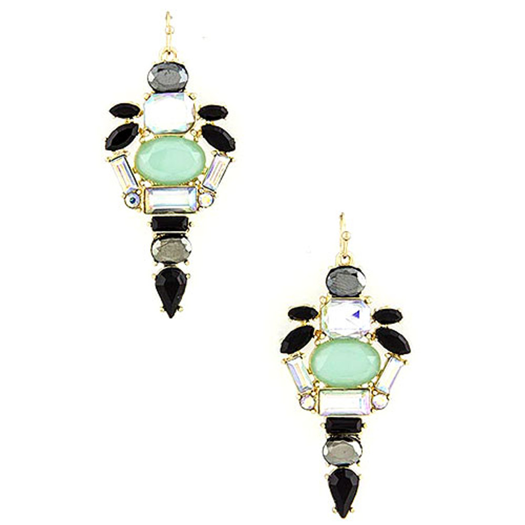 Mint Caviar Crystal Dangle