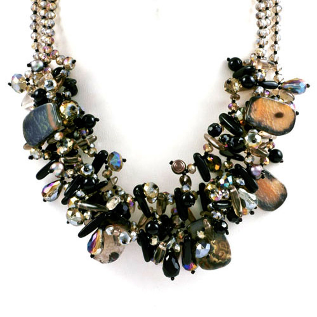 Polished Stones and Crystals Layered Cluster Necklace