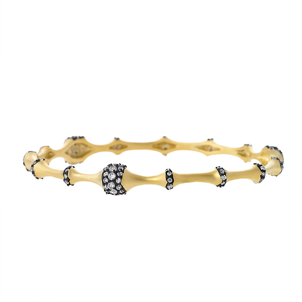 Matte Gold with Crystals Stations Bangle