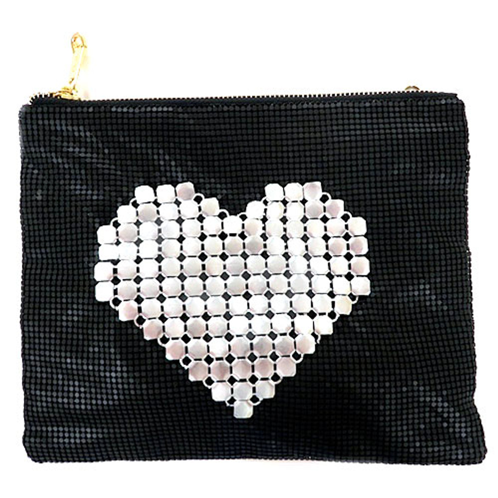 Studded Heart Chain Mesh Clutch