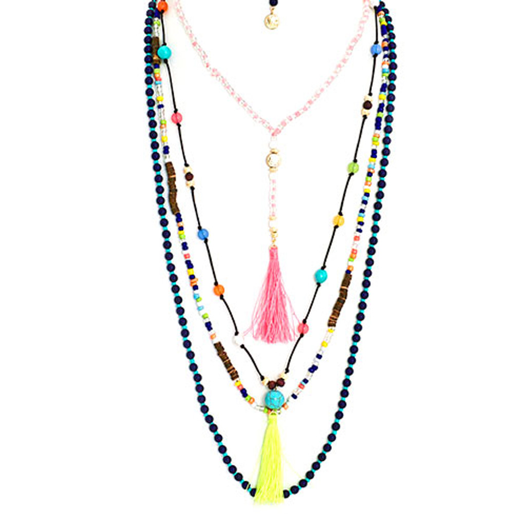 Four Bohemian Beaded Layers Necklace