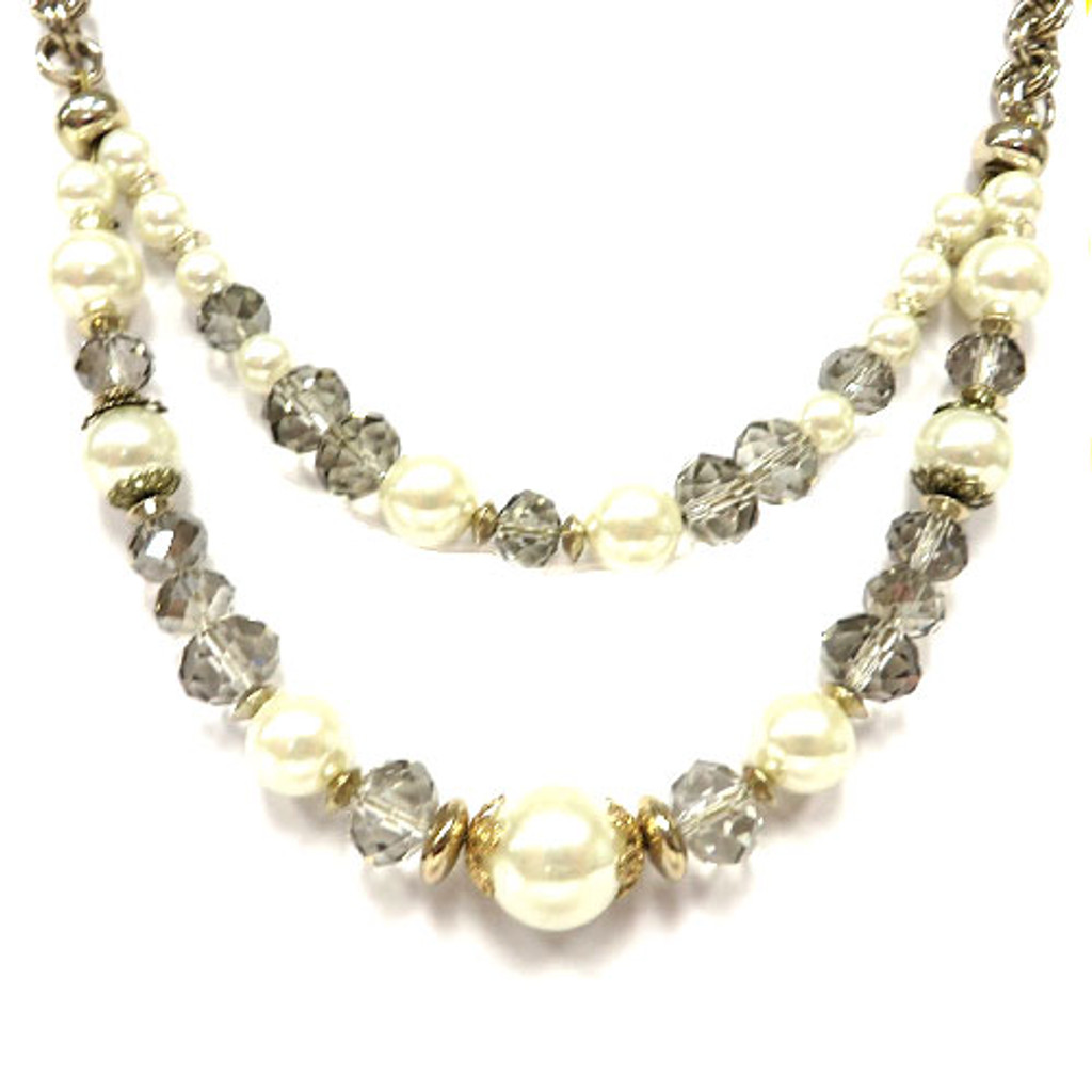 Double Strand Pearl and Crystal Necklace