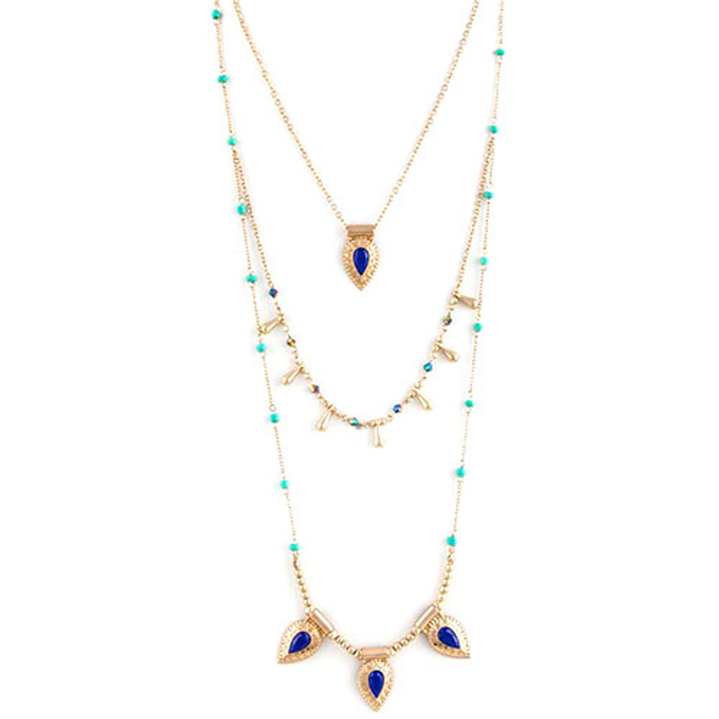 Triple Layered Beaded Links Necklace
