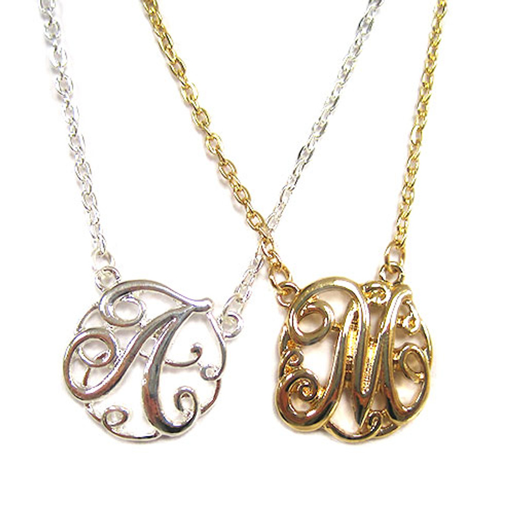 Medium Script Initial Monogram Necklace