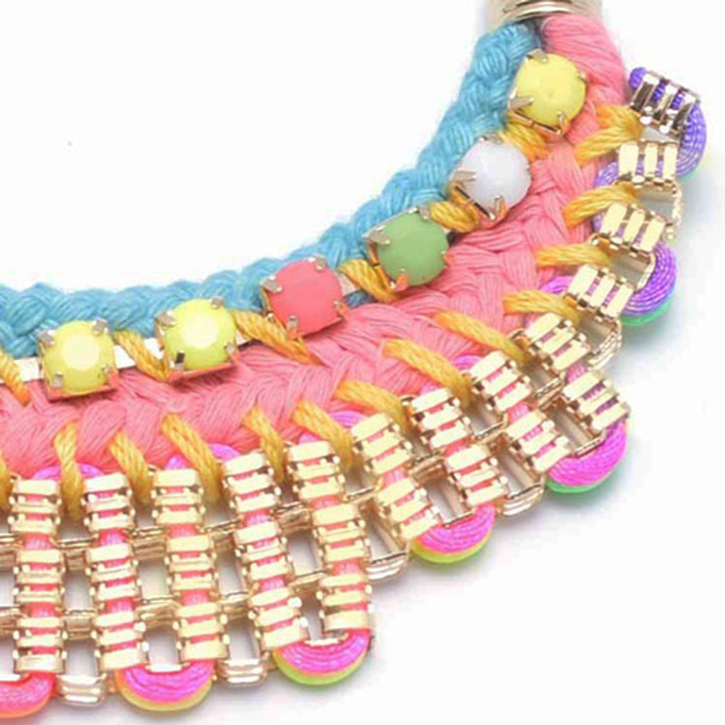 Neon Knit Statement Necklace