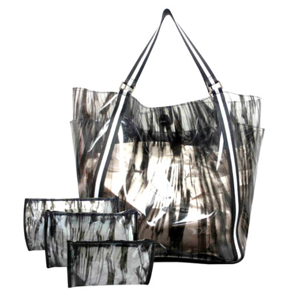 Sondra Roberts Printed Black and Clear Jelly Tote
