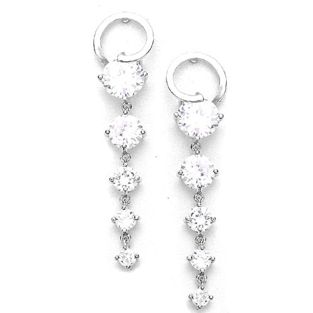 Modern Graduated C.Z. Earring in Silver