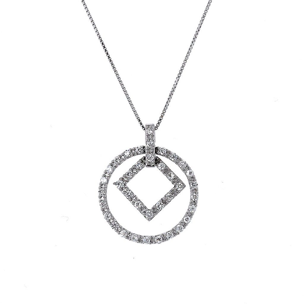 Square with a Circle Pendant Necklace