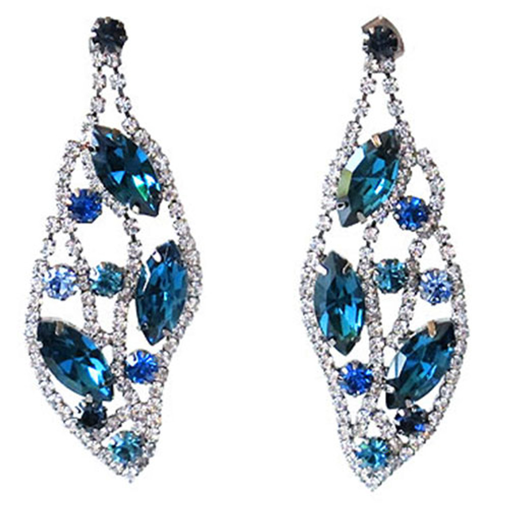 Shades of Teal Crystal Leaf Earring