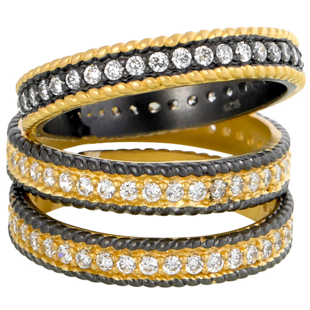 Freida Rothman's 14K Gold Vermeil and Dark Rhodium Stackable Ring Set