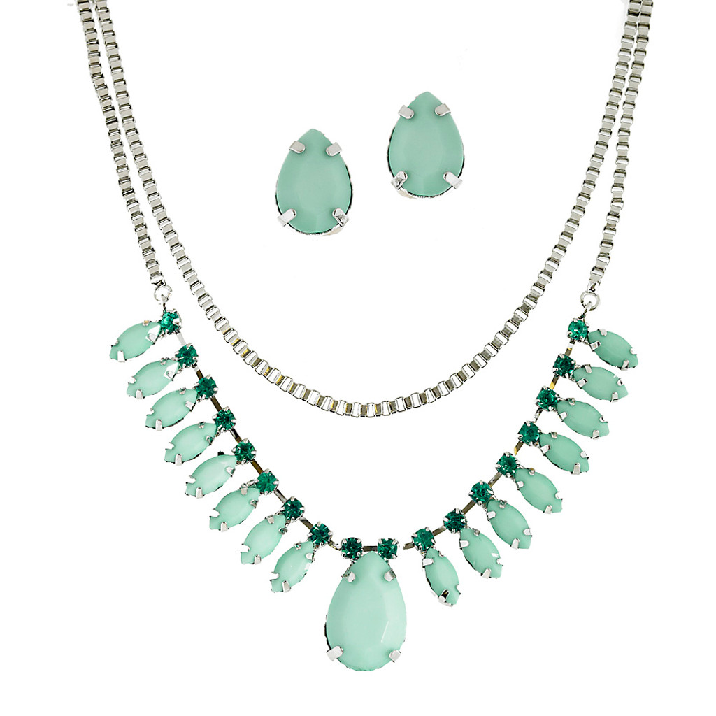 Pale Turquoise Box Chain Necklace