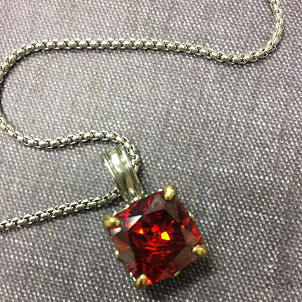 Cushion Cut Crystal in Red