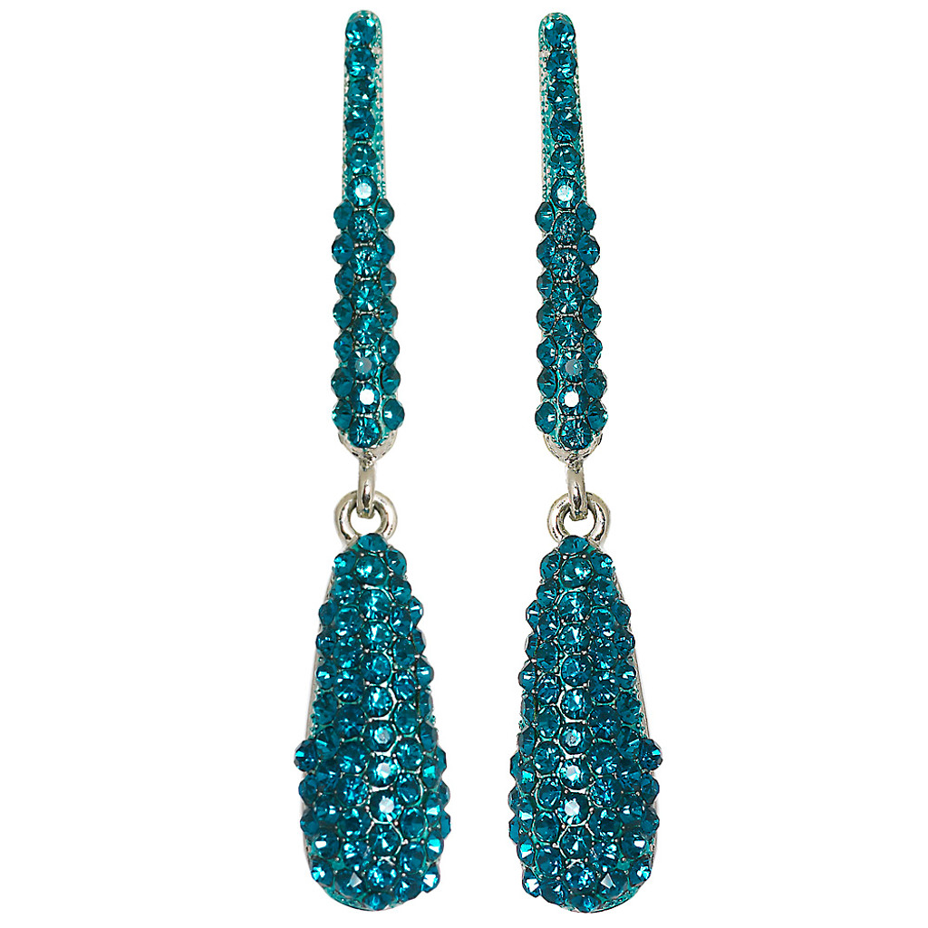 Bar and Turquoise Pave Teardrop