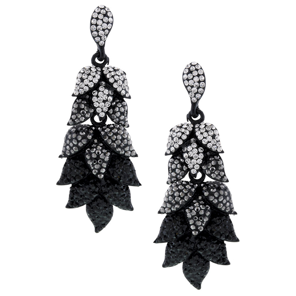 Shades of Black Leaf Earring