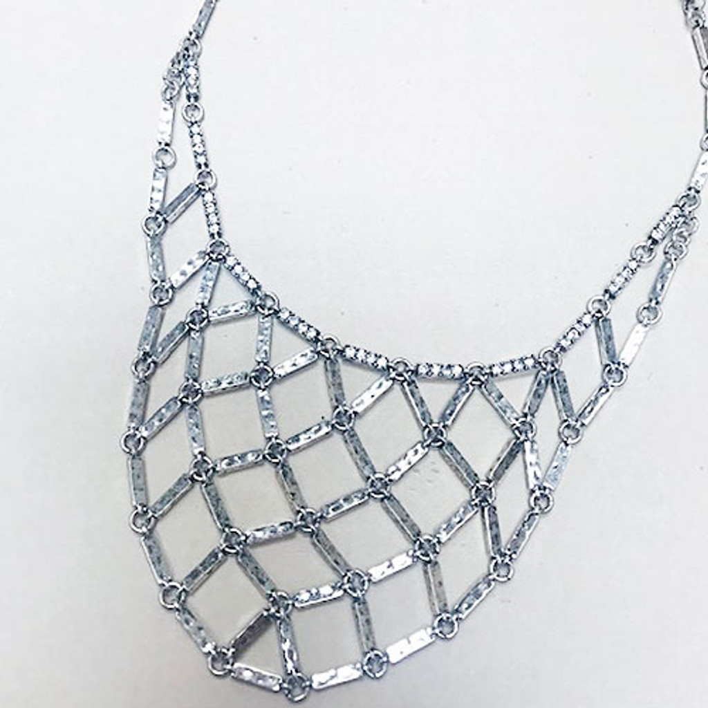 Antiqued Silver Mesh Bar Necklace