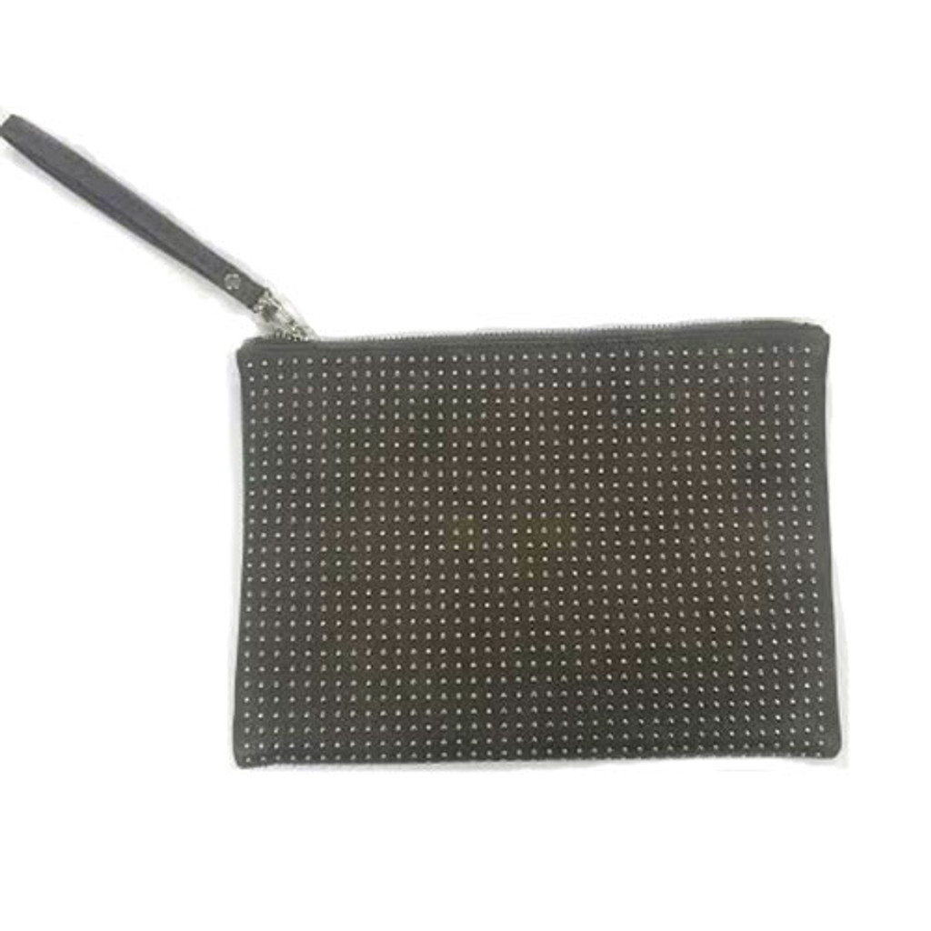 Silver Studded Grayish Taupe Zippered Clutch