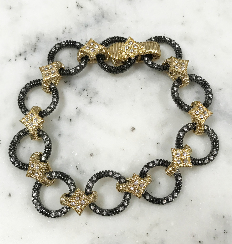 Gunmetal and Gold Links Bracelet