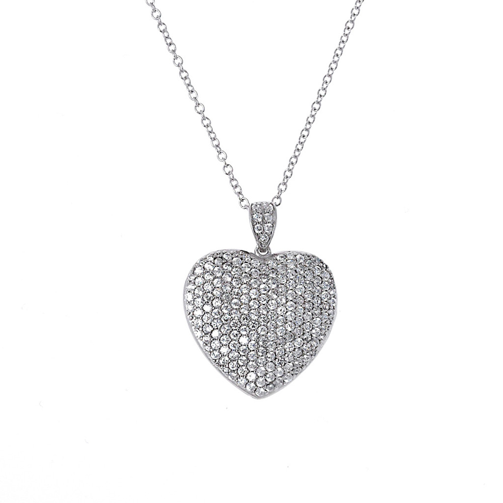 Slightly Puffed Pave Heart Necklace