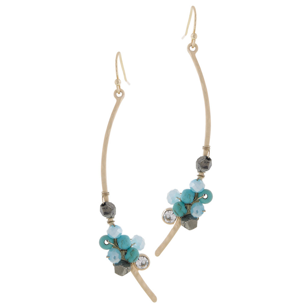 Shades of Turquoise Sculptural Stick Earring
