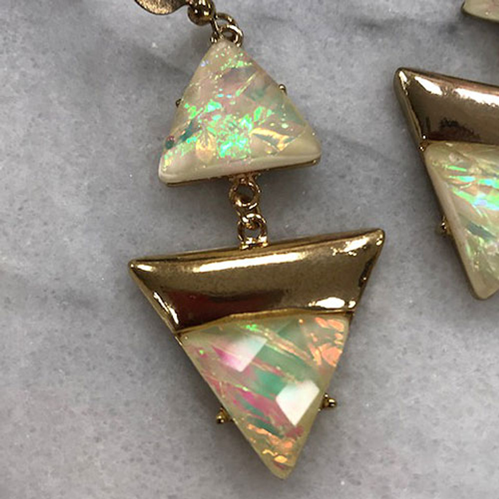 Deco Triangles Earrings White Opal