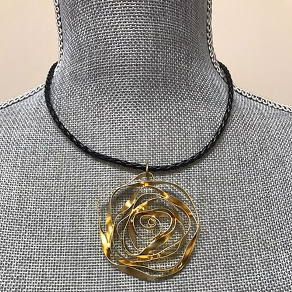 Golden Rose on Leather Cord Necklace