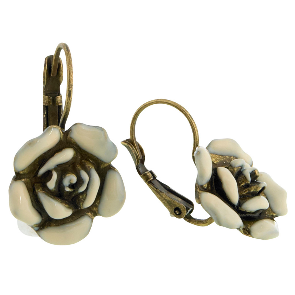 Enameled Antiqued Bronze White Rose Euro Wire