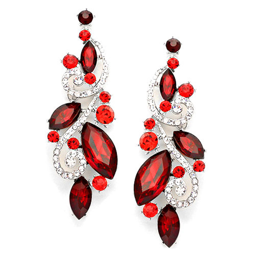 Large Shoulder Duster Red Crystal Earring