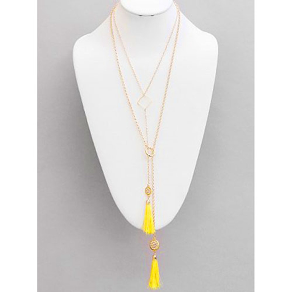 Longer Double Chain with Yellow Tassels